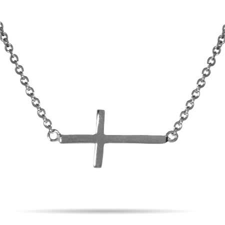 Simple Sterling Silver Sideways Cross Necklace