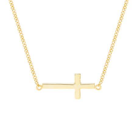 Gold Vermeil Sideways Cross Necklace