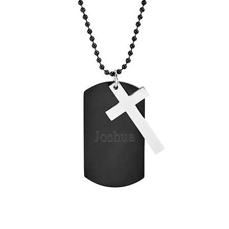 Engraved Black Plate Dog Tag with Cross