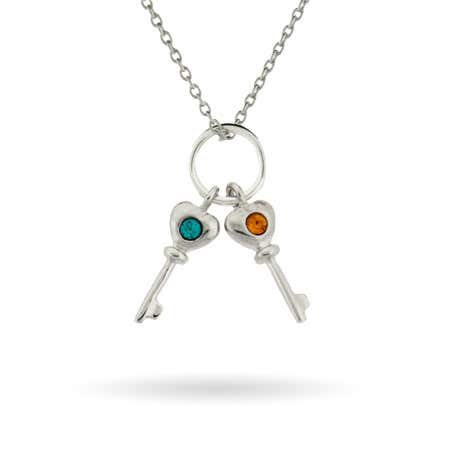 Key Charm Mother's Necklace with Two Custom Birthstones