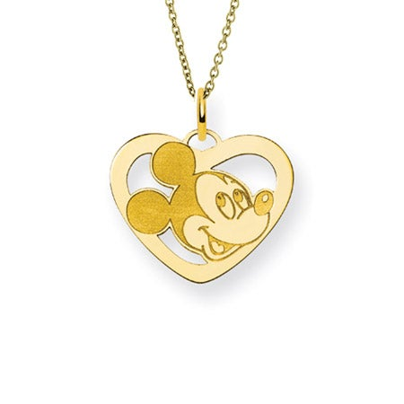 Gold Plated Mickey Mouse Heart Charm Necklace