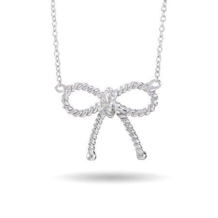 Designer Style Sterling Silver Twisted Bow Necklace | Eve's Addiction®