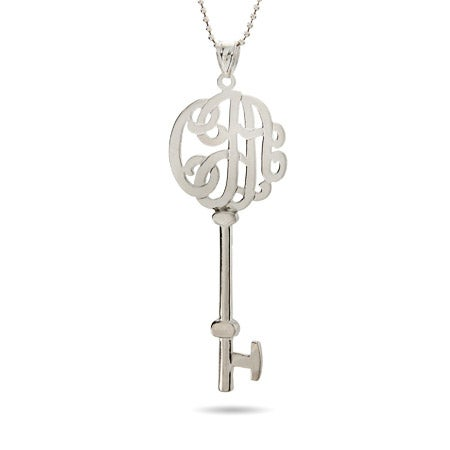 Victorian Style Sterling Silver Large Monogram Key Pendant
