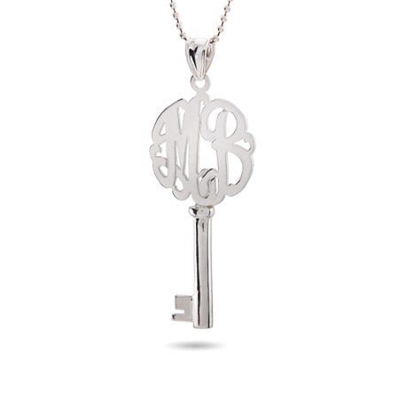 Victoria Style Two Initial Sterling Silver Monogram Key Pendant
