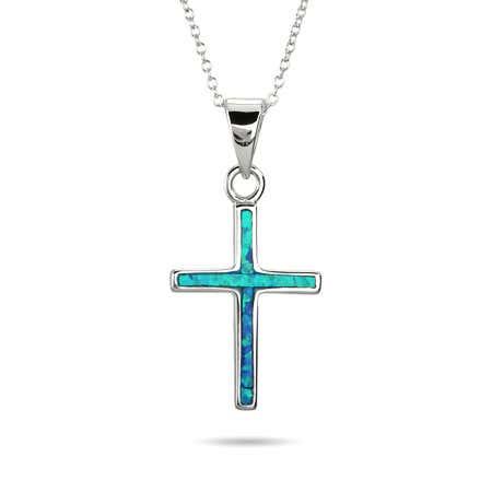 Sterling Silver Opal Inlay Cross Pendant