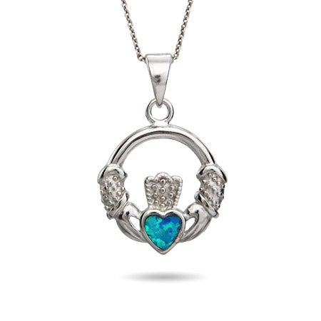 Sterling Silver Opal Heart Claddagh Necklace