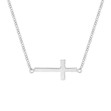Petite Sideways Cross Necklace in Sterling Silver | Eve's Addiction