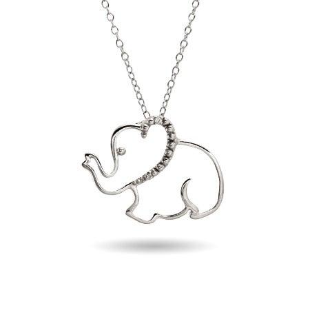 Sterling Silver Stencil Elephant Pendant