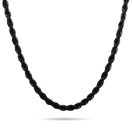 Men's Black Plate Stainless Steel Rope Chain | Eve's Addiction