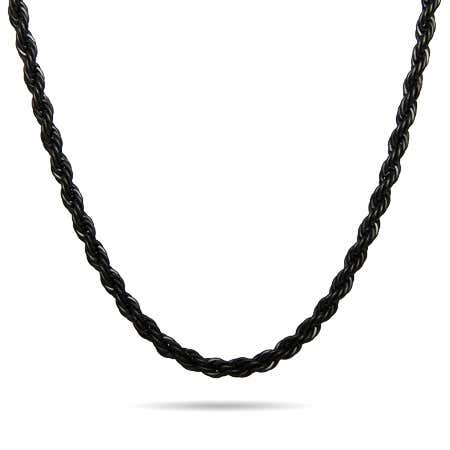 Men's Black Plate Stainless Steel Rope Chain