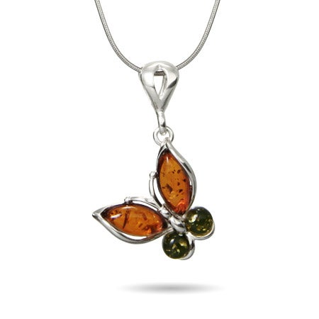 Genuine Baltic Amber Silver Butterfly Necklace