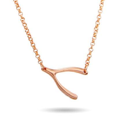 Rose Gold Vermeil Sideways Wishbone Necklace