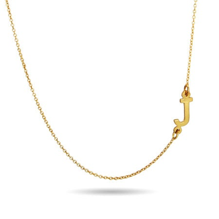 Gold Sideways Initial Necklace | Eve's Addiction®