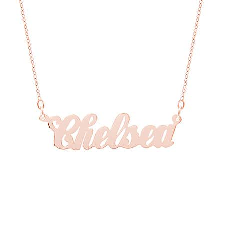 Simple Script Rose Gold Vermeil Name Necklace