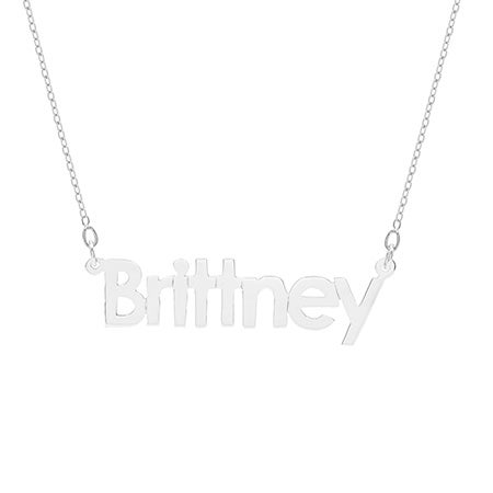 Sterling Silver Simple Block Style Name Necklace