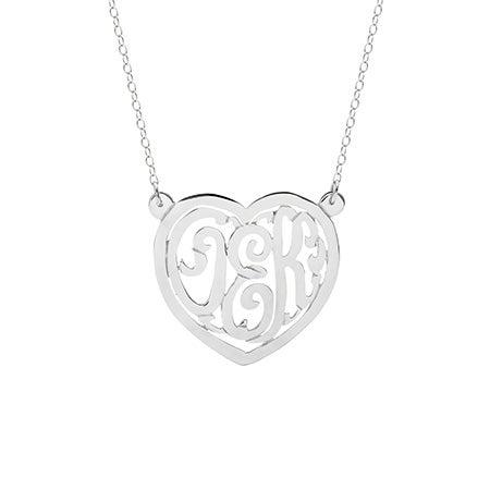Sterling Silver Custom Monogram Heart Necklace