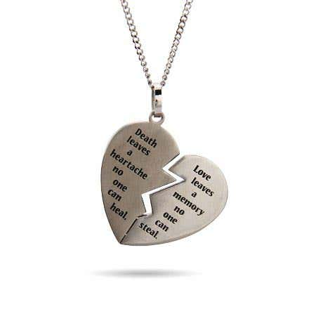 display slide 1 of 2 - Engravable Broken Heart Bereavement Pendant - selected slide
