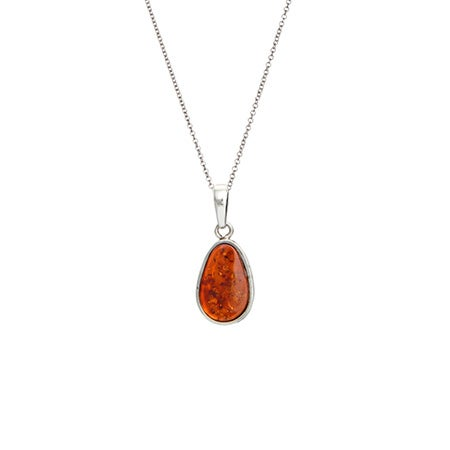 Sterling Silver Oval Shape Baltic Amber Pendant