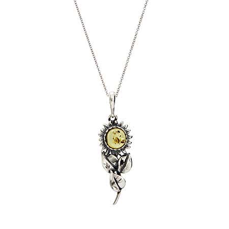 Sterling Silver Lemon Amber Sunflower Pendant