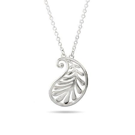 Designer Style Silver Wave Palm Pendant