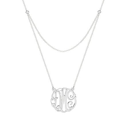 Sterling Silver Double Strand Custom Monogram Necklace