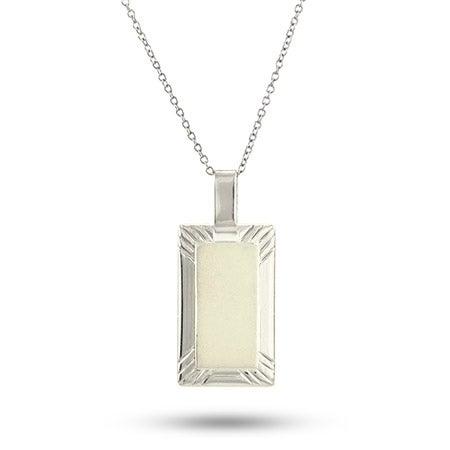 Engravable Sterling Silver Rectangle Framed Charm Necklace