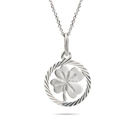 Sterling Silver Lucky 4 Leaf Clover Pendant