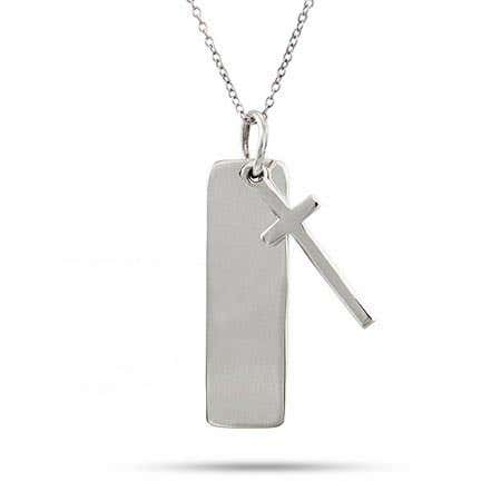 Engravable Sterling Silver Tag Pendant with Cross