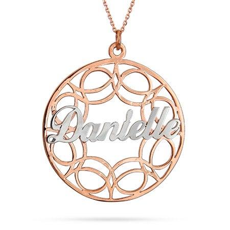 Rose Gold Vermeil Filigree Custom Name Circle Pendant
