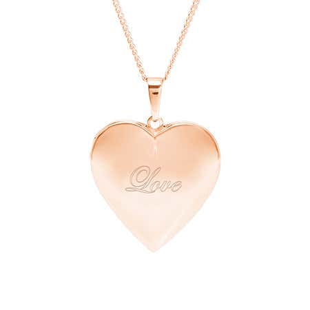 Engravable Rose Gold Polished Heart Photo Locket