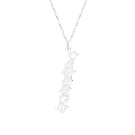 Custom Vertical Stepped Sterling Silver Name Necklace