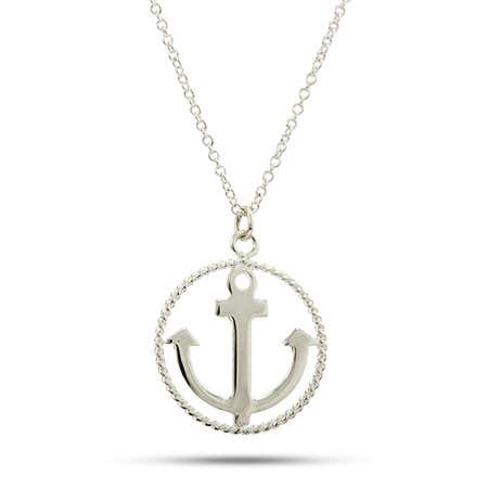 Twisted Border Anchor Necklace | Eve's Addiction