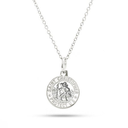 Sterling Silver Small St. Christopher Medallion Necklace