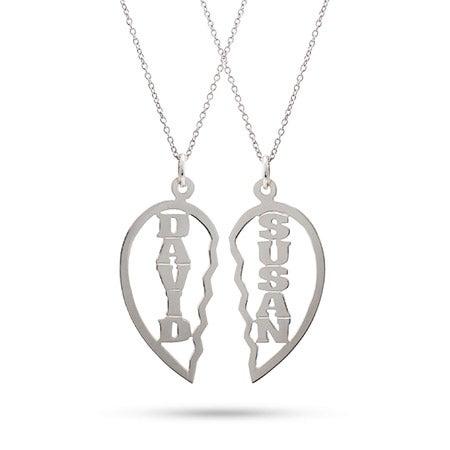 Broken Heart Custom Couples Necklace