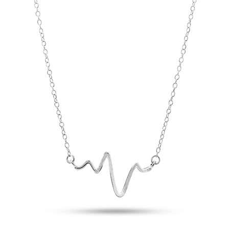 Petite Sterling Silver Heartbeat Necklace