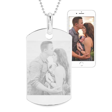 Sterling Silver Photo Dog Tag Necklace | Eve's Addiction®