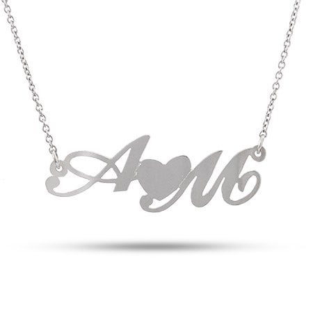 Sterling Silver Couples Initial Necklace