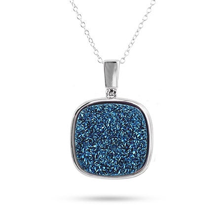 Silver Blue Drusy Necklace
