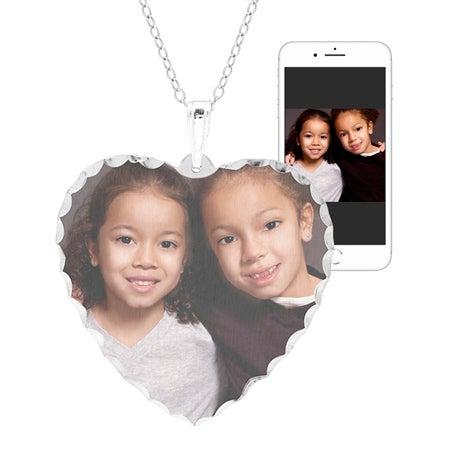 Large Sterling Silver Heart Diamond Cut Color Photo Pendant