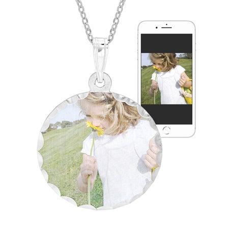 Round Sterling Silver Diamond Cut Color Photo Pendant