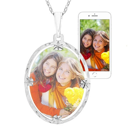 Sterling Silver Framed Oval Color Photo Necklace