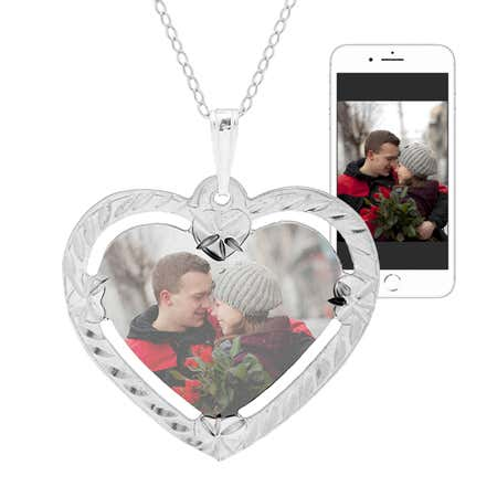 display slide 1 of 4 - Sterling Silver Framed Heart Color Photo Pendant - selected slide