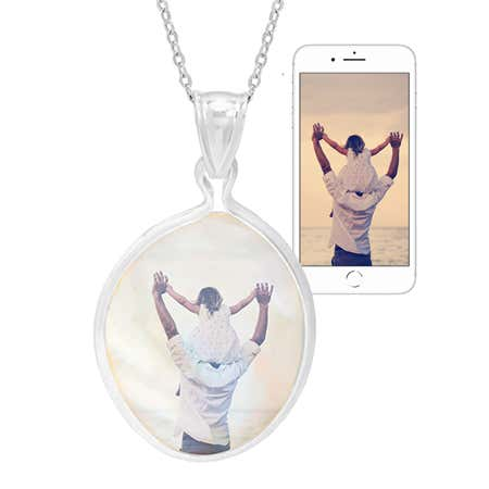 Oval Mother of Pearl Color Photo Necklace | Eve's Addiction