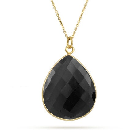 Gold Plated Pear Cut Black Onyx Pendant