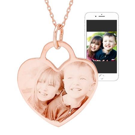 Rose Gold Vermeil Heart Photo Pendant