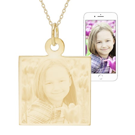 Gold Plated Square Charm Photo Pendant