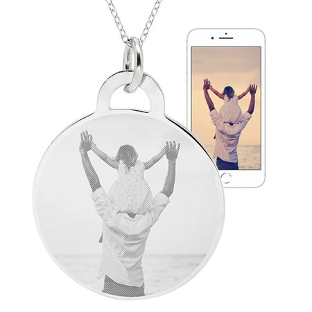 Customizable Round Tag Photo Pendant in Sterling Silver | Eve's Addiction