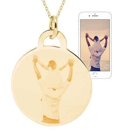 display slide 1 of 4 - Gold Vermeil Round Charm Photo Pendant - selected slide