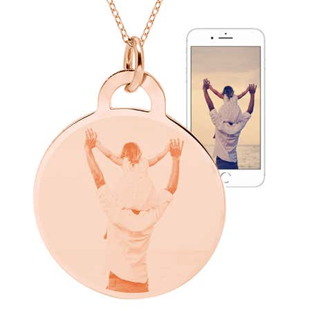 Rose Gold Vermeil Round Tag Photo Necklace