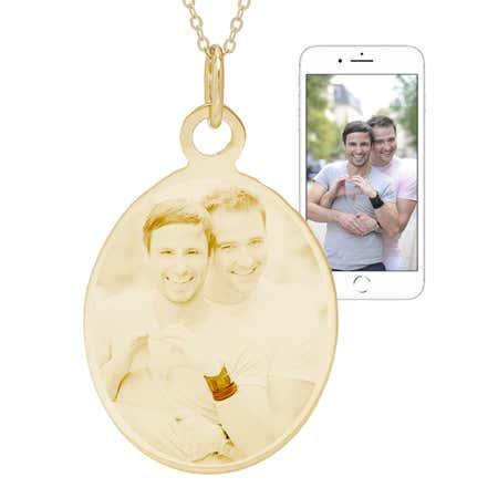 display slide 1 of 5 - Custom Gold Oval Tag Photo Pendant - selected slide